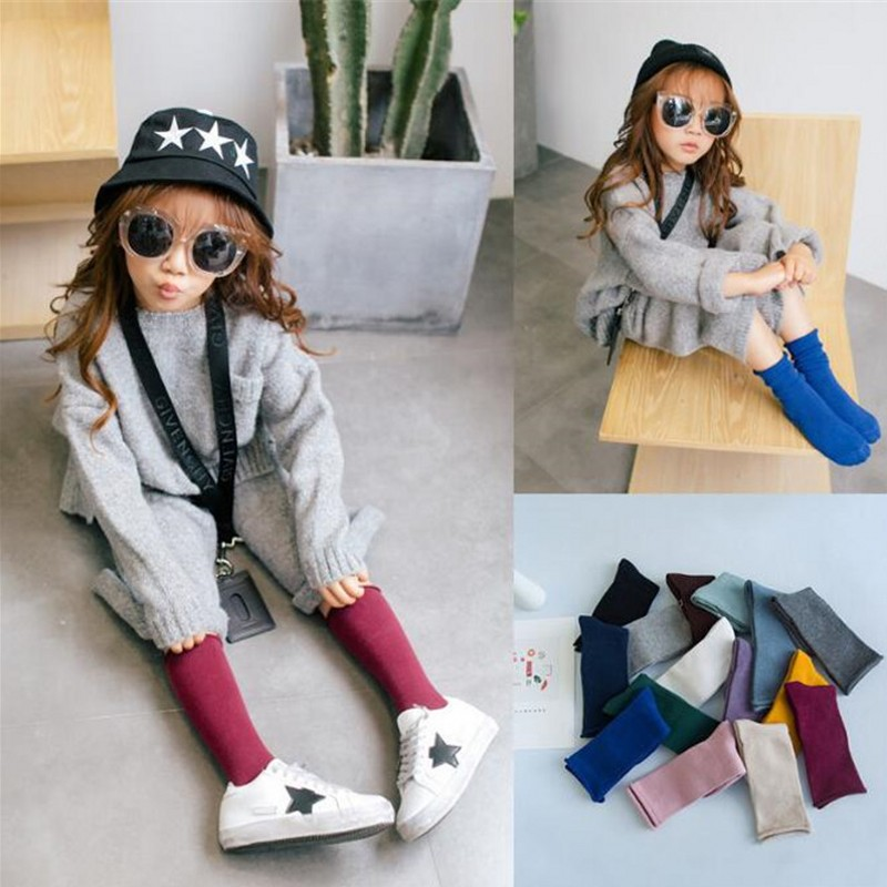 Kids Knee High Socks For Girls Boys Solid Cotton Socks Skate Children Baby Long Tube Leg Spring Warm Baby Sock 1 Pair/ lot