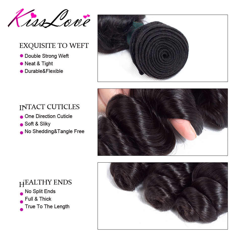 Paquetes de onda suelta brasileña con cierre cabello humano paquetes de cabello humano 3 paquetes con cierre de encaje extensión de cabello no- remy