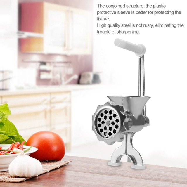 New Hand Cast Aluminum Manual Meat Grinder Mincer Machine Sausage Table Crank Tool for Home Kitchen Cutter Slicer Beef