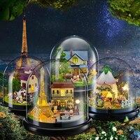 Puppenhaus Miniatur DIY Puppenhaus Mit Möbel Transparente Abdeckung Holz Casa Mini Haus Spielzeug Für Kinder Weihnachten Geschenk # E