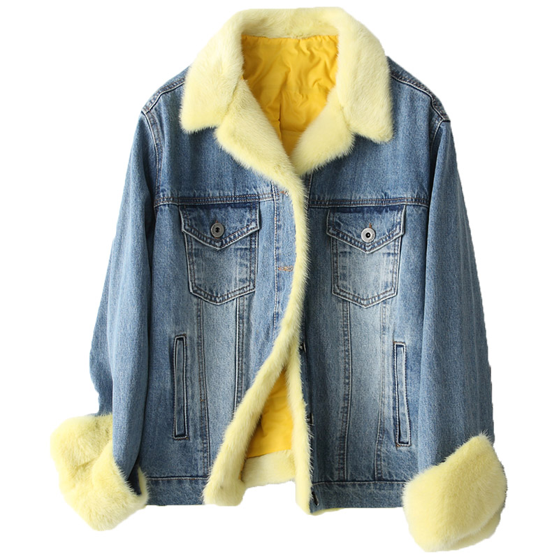 Winter Real Mink Fur Collar Jacket Women Clothes 2018 Duck Down Jackets Korean Vintage Denim Coat Parka Chaqueta Mujer ZL757
