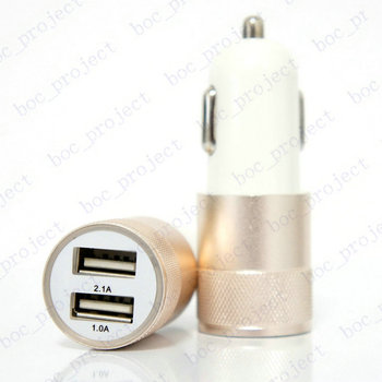 12V 2.1A&1A Aluminum 2 USB Ports Universal Dual USB Car Charger For iPhone 5 6 6 plus For ipad 2 3 4 5 For Samsung S4 S5 100pcs