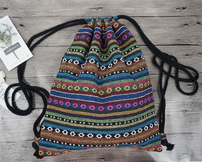 HTB1KTf8duuSBuNjy1Xcq6AYjFXaL LilyHood Women Fabric Backpack Female Gypsy Bohemian Boho Chic Aztec Ibiza Tribal Ethnic Ibiza Brown Drawstring Rucksack Bags