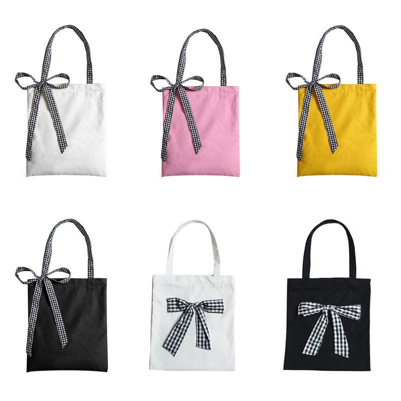 Women's Canvas Tote Shoulder Handbag Bowknot Travel Shopping Folding School Bags