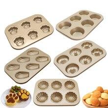 Seashell Cupcake Baking Pan Tray Carbon Steel Nonstick Madeleine Banana Cat Claw Flower Heart Bunny Muffin Dish Cake Bread Mold