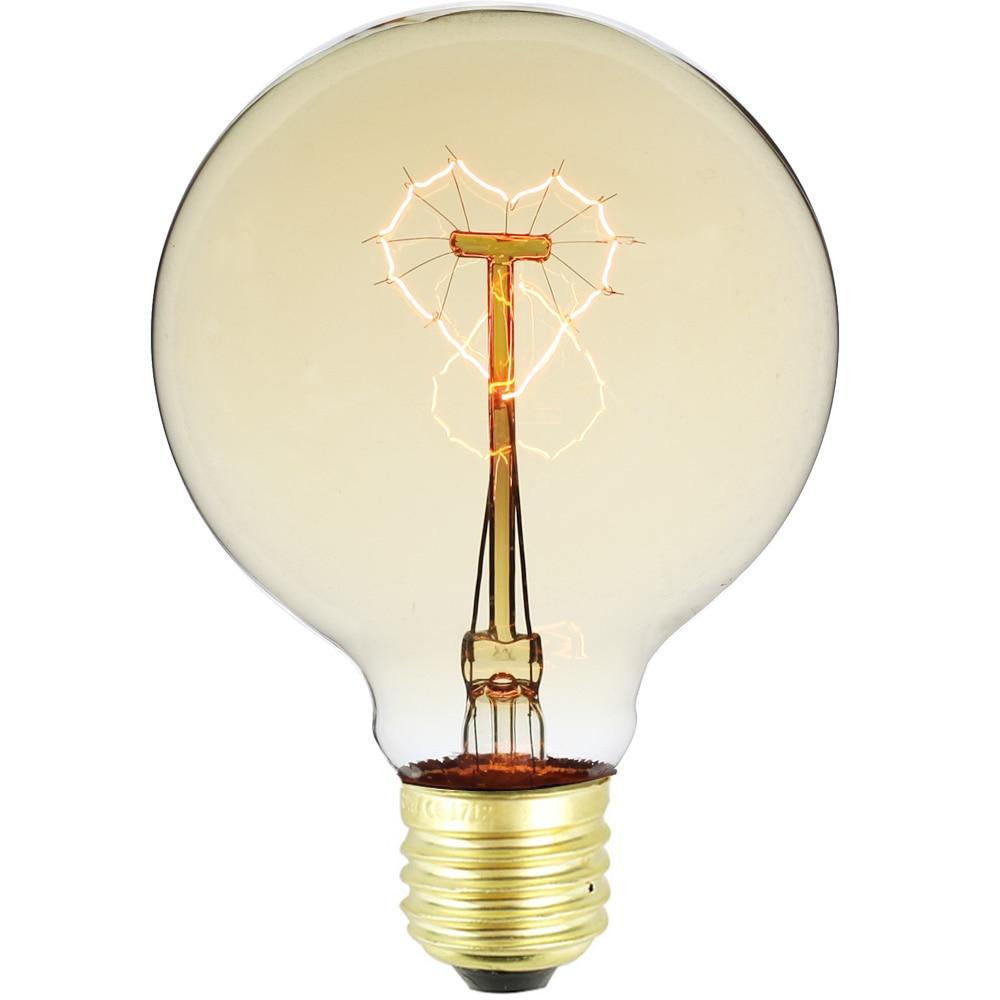 g95 coracao forma filamento edison lampada do vintage e27 220 v 24 w artistica lampada de