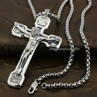 Huge Heavy Jesus Crucifix Cross Solid 925 Sterling Silver Pendant 8A009 24