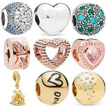 New Original Sliver Gold Rose gold Zircon Clip Mickey star Snowman Bead Charm Fit Pandora Bracelet Necklace DIY Women Jewelry недорого