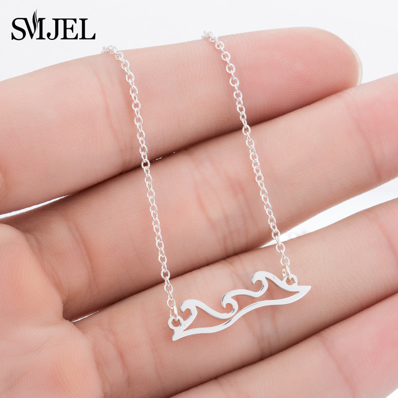 SMJEL Stainless Steel Wave Necklaces & Pendants Beach Wedding Necklace Surfer Gift Tropical Wedding Jewelry Men Gift