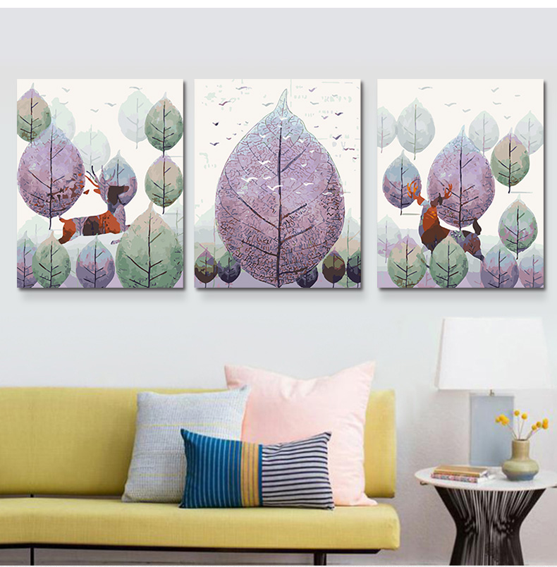 3pcs/set 40*50 diy oil painting by numbers triptych acrylic painting coloring paint by number hand painted Beauty scape