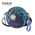 Flower Princess Brand 2017 Women Fashion Owl Canvas Circular Handy Bags Girl Small Retro Shoulder Bag Buns Crossbody Bag X002