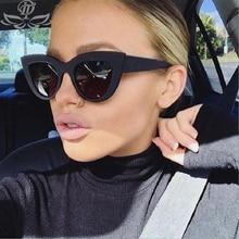 цена на Cat Eye Sunglasses Women Color Lens Vintage Fashion Brand Designer Mirror Frame Black PC Female 2019 New Sunglasses UV400