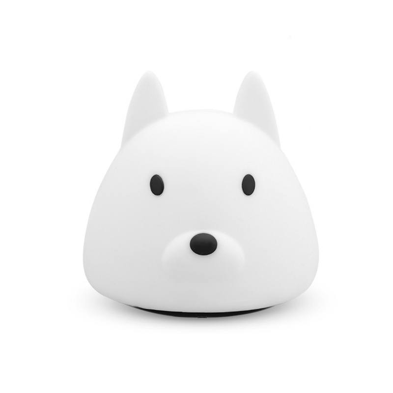 HC-90 Silica Gel USB Charging LED Portable Light Dog Shape Decorative Atmosphere Colorful Night Light for In-Outdoor Decoration