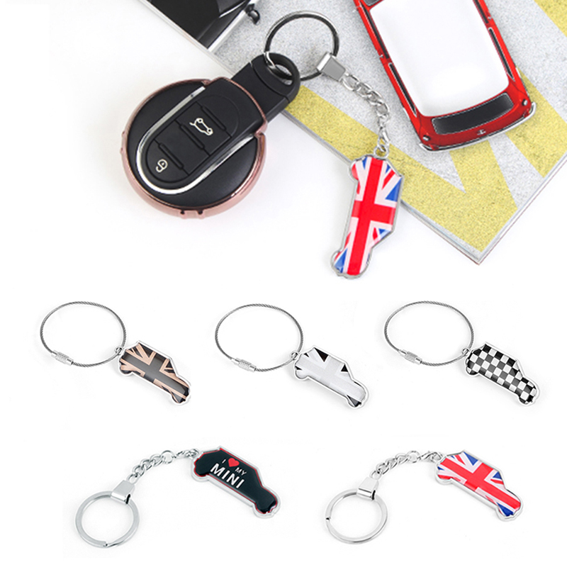 Car Stainless Steel <font><b>Keychain</b></font> Key Ring Car Model Pendant For <font><b>Mini</b></font> <font><b>Cooper</b></font> JCW One S R55 R56 R60 F55 F56 F60 Countryman Accessories image