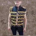 Discoteca ropa del funcionamiento cantante masculino de rock de la personalidad de los hombres hombres chaqueta chaleco chaleco de combate escenario instalado verano do245