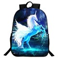 Special Offer New Style Oxford 16-Inch Prints Animals Horse Teenage School Backpacks Black Children School Bags for Kids Bookbag