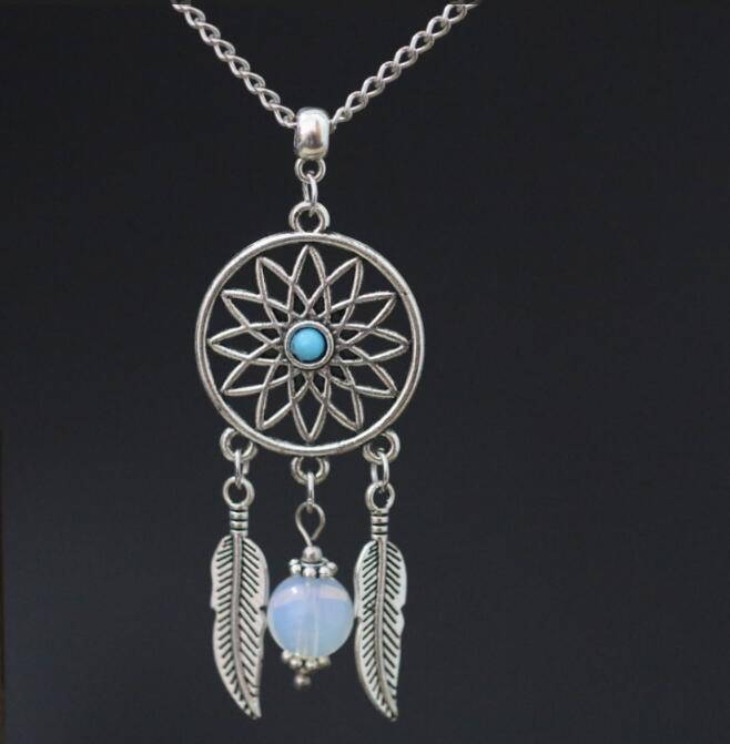 Native American Dream Catcher Dreamcatcher Pendant 18″ Chain Necklace Alloy Vintage Ancient Silver Charms ~ Christmas Gift