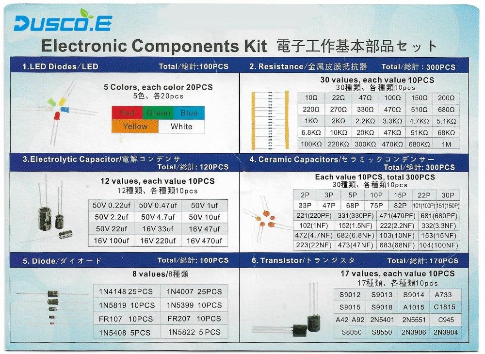 """אוזניות ודיבוריות BlueTooth רכיב אלקטרוני קיט סה""""כ 1390Pcs ESR-T4 דיגיטלי טרנזיסטור Tester LED דיודות טריודה קיבוליות PNP / NPN LCR נגדים-92 (3)"""