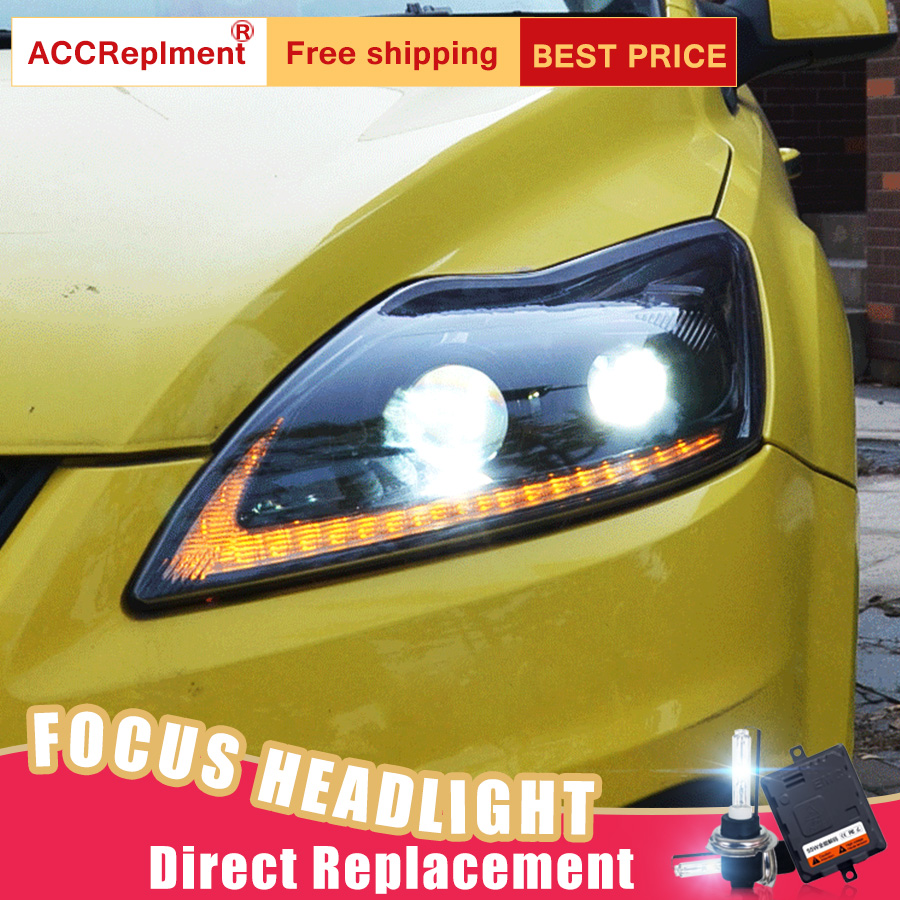 2Pcs LED Headlights For Ford Focus 2009 2013 led car lights Angel eyes xenon HID KIT