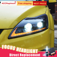 2 шт. светодиодный фары для Ford Focus 2009 2013 светодиодный Автомобильные фары ангельские глазки комплект ксеноновых фар, Высокопрочная конструкц