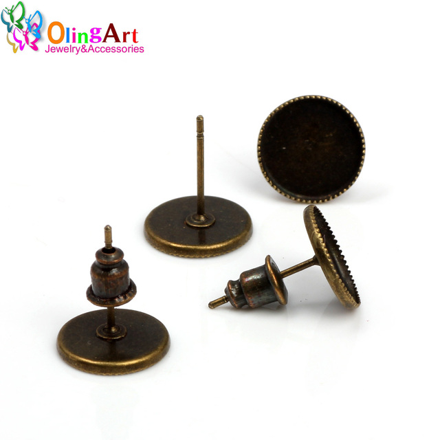 a78658c50c5f Olingart 10mm 50 unids lote bronce Stud embutido Pendientes accesorios  joyería DIY hacer No níquel