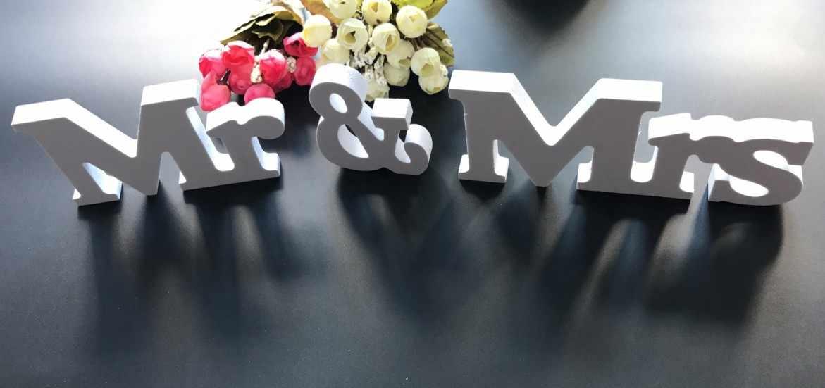 Белый мистер и миссис надпись вывеска деревянная стойка столешницы Свадебная вечеринка украшения