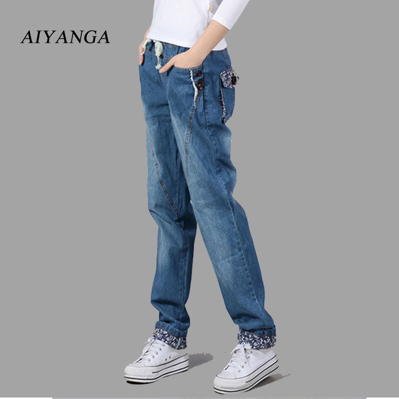 Jeans for women 2018 Casual Fashion Denim Long  Pants Female Blue Jeans Woman Middle Waist Boyfriend Straight Trousers AIYANGA