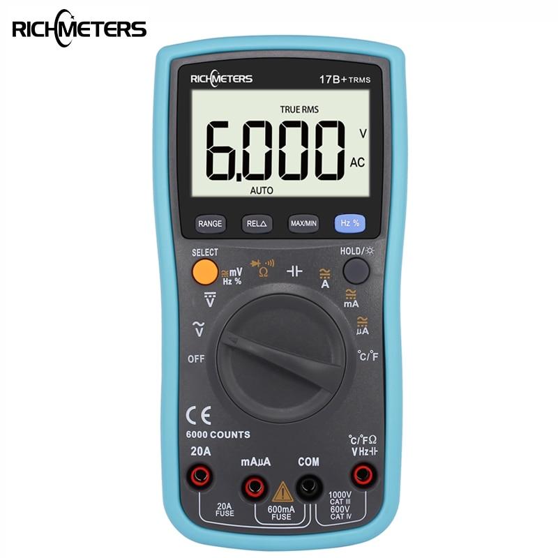 RICHMETES 17B + 6000 cuentas Digital DC multímetro AC voltaje medidor de corriente resistencia diodo cauticance probador