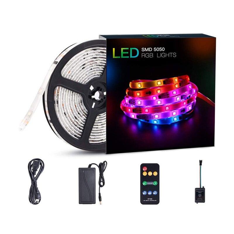 1 pièces 5 M ruban LED bande de lumière d'ambiance à LED de musique bande de Diode imperméable à l'eau ruban néon SMD5050 RGB Ultra lumineux avec adaptateur DC 12 V 3A