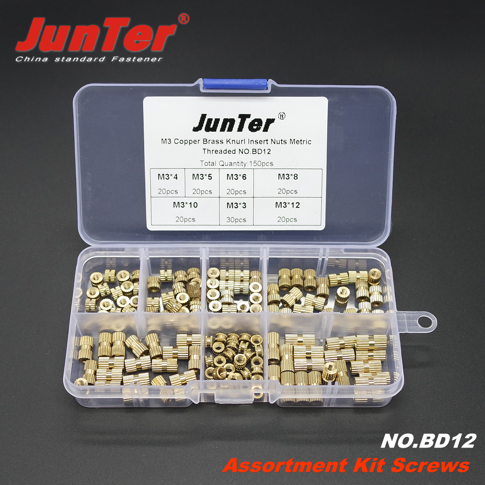150pcs M3(3mm) Brass Knurled Nuts Insert Embedded Nuts Outside Diameter 5mm Assortment Kit NO.BD12