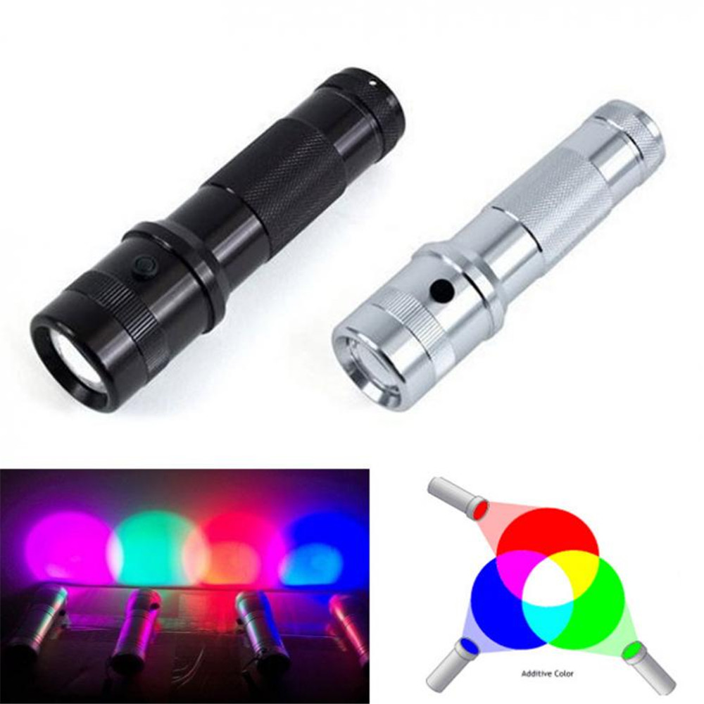 2017 New Colorshine Color Changing RGB LED Flashlight 3W Aluminium Alloy RGB Edison LED Multicolor LED Rainbow of 10 Color Torch