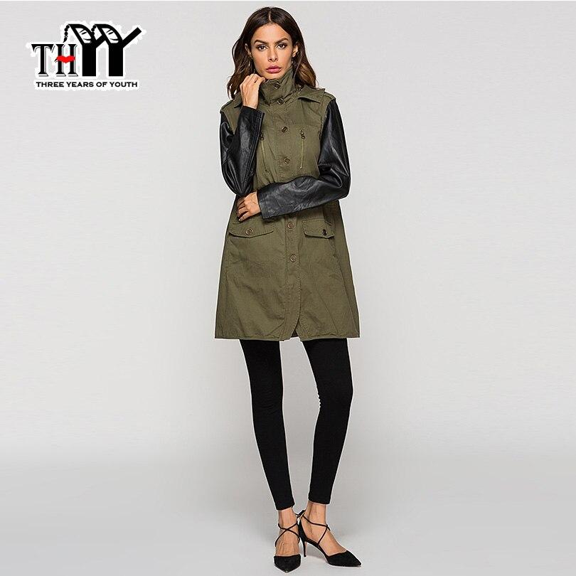 Pu Survêtement Femmes Long Veste Manteaux Manteau Army 2019 Vert Green En D30 Cuir Chaqueta Manches Thyy Femme Armée Mujer tqv7xBwEY