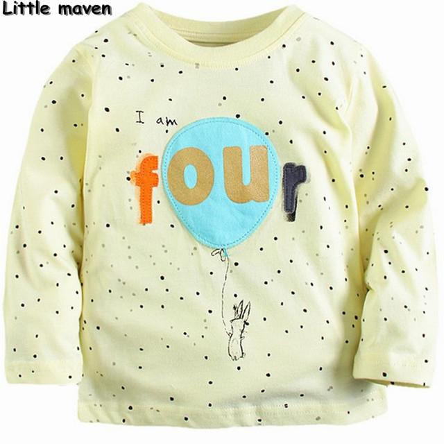 Little maven 2017 primavera crianças marca bebê meninos/meninas roupas de algodão 4 quatro cópia do ponto de manga longa t camisa de presente de aniversário CT081