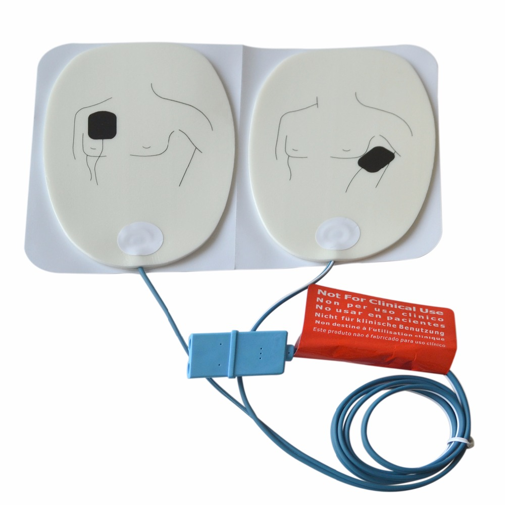 2Pairs/Lot New Brand ECG Defibrillation Electrode Patch With A Tail Line Emergency Supplies Advanced AED Trainer Accessories