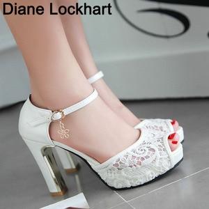 Image 1 - women Summer lace mesh shoes Fish Mouth high heel ladys platform sandals evening dress wedding shoes femal zapatos de mujer 43