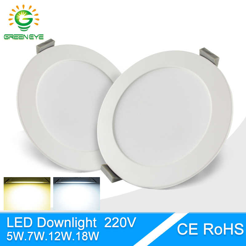 Green Eye Ultra thin led downlight lamp round panel light 3w 5w 7w 12w 18w AC 220V 240V led ceiling recessed grid downlight slim