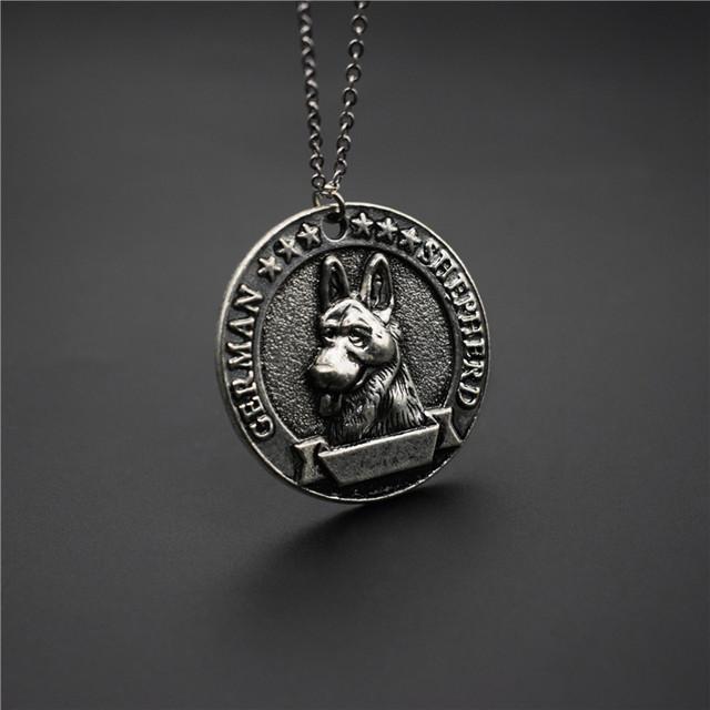 New Vintage German Shepherd Medal Necklace Retro Style Metal German Shepherd Pendant Necklace Women Jewellery Dog Jewellery