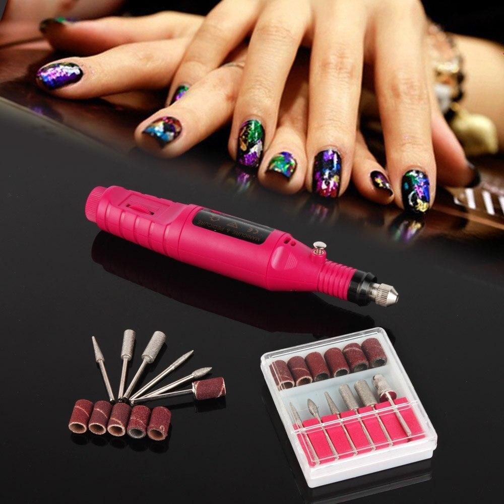 1 set Electric drill Nail Art Care Tips Fingernail Manicure Toenail Pedicure Drill File Buffing Polish Kit Tool Pen Shape