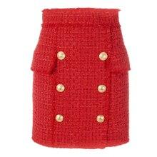 Lion Buttons Embellished Tassel Tweed Wool Mini Skirt