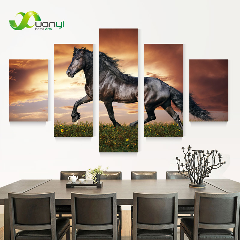 5 Panel Running Horse Wall Art Canvas Oil Painting Cuadros Home Decoration Modular Wall Picture For Living Room UnFrame PR1007