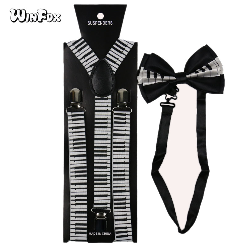 Winfox Back White Women Men Suspenders Bowtie With Musical Notes Keyboard Suspenders Braces Bowtie Female Women Bretels