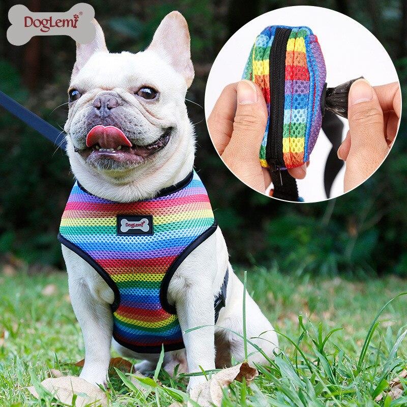 Image 2 - Dog Harness Leash Set with Poop Bag Soft Breathable Rainbow Mesh French Bulldog Vest Adjustable Jogging Pet Leash Harness SPHarnesses   -