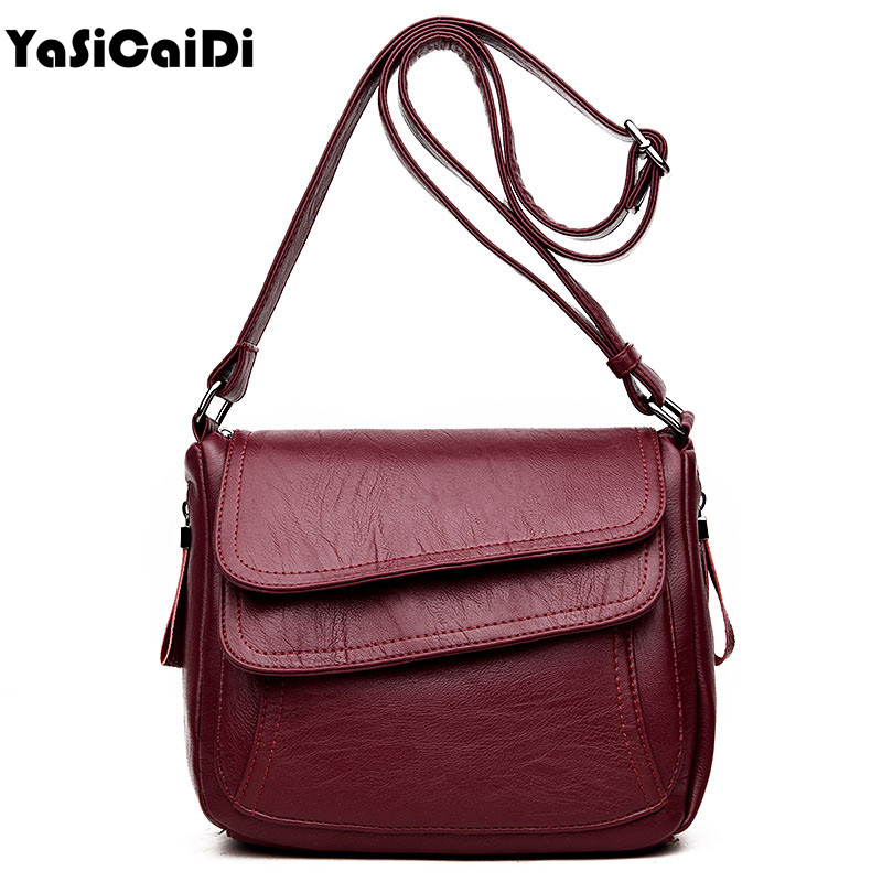 YASICAIDI Patchwork PU Leather Women messenger bag High Quality Black Leather Small Women Shoulder Bags Stitching Crossbody Bag