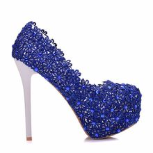 Female Wedding Shoes Blue Lace Women High Heel Crystal Bridal Shoes Princess Pumps