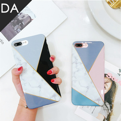 For Case IPhone Marble Geometric Back Cover Polish Stitching Geometry Imd Marble Stone Gel Case For IPhone 6S X 7 8Plus Fundas 1