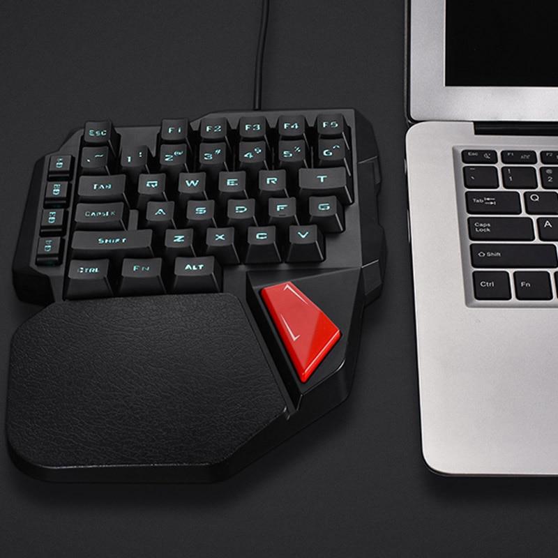 Single Hand Wired Gaming Keyboard 38 Keys Mini Keypad For Dota OW PUBG OD889
