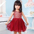 Summer New Girls Dresses Vestidos Lace Sequins Kids Costume Children Ball Gown Baby Princess Party Dresses