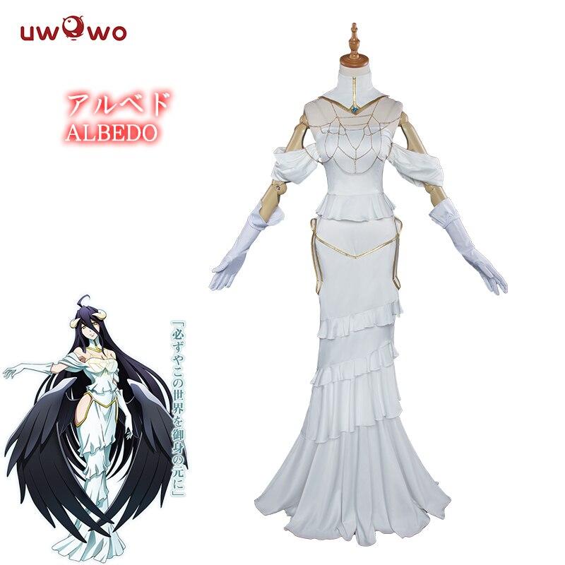 UWOWO Albedo Cosplay Anime Overlord  Costume Women White Dress Halloween Christamas