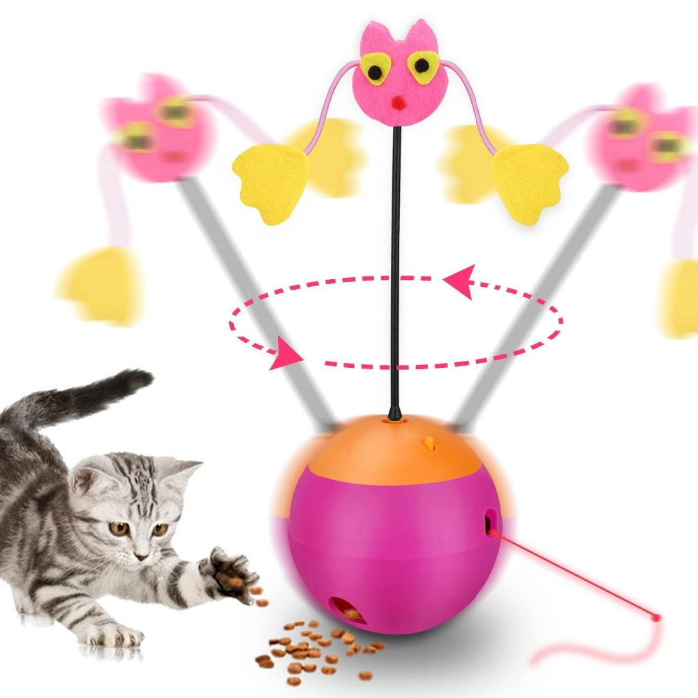 Interactive Cat Toy 3In 1 Multi Function Automatic Spinning Playing Toy Ball Tumbler with Chaser Light Food Dispenser For Kitten