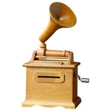 Gorący papier do majsterkowania taśma pozytywka drewniana ręka łukowaty fonograf pozytywka drewno rzemiosło Retro prezent urodzinowy Vintage Home